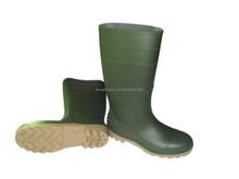 Green PVC rain boots with steel toe/rain shoes