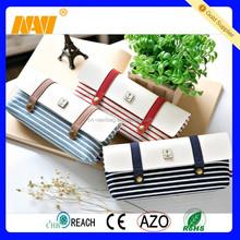 Novelty Navy Canvas Zipper Pencil Case School and Office pen bag holder