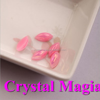 drop shape pink AB Color plastic pearl beads without hole