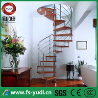 pvc handrail spiral stairs with glass /wood treads
