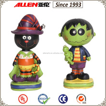 "5.9"" hot sale Halloween small resin figurine, black cat and green ghost resin halloween craft"