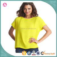 wholesale top fashion women's clothing plain neon green tops and blouse design