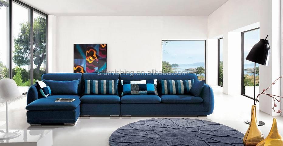 Md617 moderne confortable noble bleu luxe velours tissu salon en coupe meubles de maison l forme for Salas modernas precios