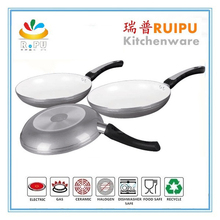 Ceramic coating aluminum 3pcs golden kitchen cookware/cookware accessory/porcelain enamel cookware sets