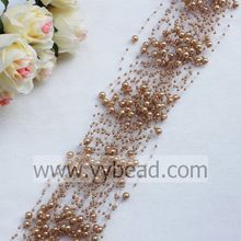 Light Coffee Colors Faux Pearl Beaded Garland With 3+8MM Beads