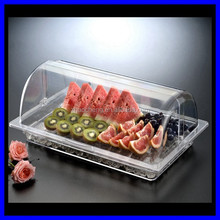 2015 New Design Large clear acrylic serving tray with lid