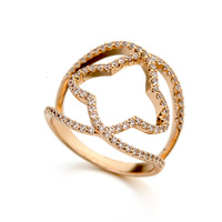 Latest exaggerated ring of AAA zircon diamond jewelry gold ring designs for girls