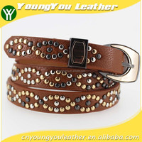 2015 Women's Fashion beads belt with leather belt with high quality leather in YiWu