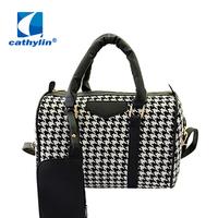 Free Shipping Cathylin Black Printing Women Handbags Classic Plaid Bag New Fashion Designer Female Bowling Bag Ladies bag