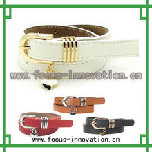 promotion women leather pu belt white