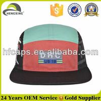 Custom round applique waxed cotton 5 panel hats
