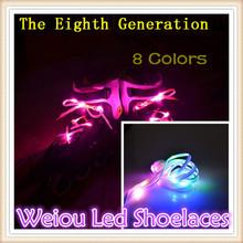 2015 popular birthday colorful flashing led shoe laces New popular Flashing Led Nylon Shoelaces