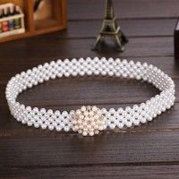 C86189A korea lady new fashion pearl beaded belt/summer belts