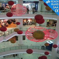 Indoor shopping mall swing ball,colorized ball of rope light decoration