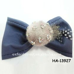 PU and crystal horse fur Hair clip for winter