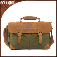 Army green canvas shoulder mens leather laptop bag