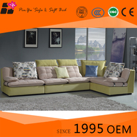 Yellow L-Shaped Wooden Corner Couch Furniture Design Sofa Bed Set