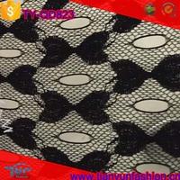 classical samll floral jacquard knitting nylon stretch black fabric lace