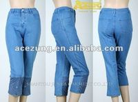 Ladies fashion three quarter pants trousers pants designs for women---pictures of jeans pants