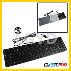 Multimedia Wired Ultra-Thin Keyboard with Keyboard Cover Protector Skin (Black)