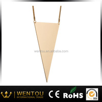 Big Blocking Triangle Pendant Long Chain Necklace
