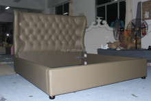 King/queen size fabric bed of leather material with luxury design for your loyal bedroom