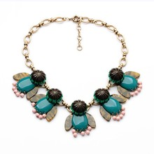 Fashion Briolette Resin Stone Fly Statement Necklace Flexible Wings Necklace