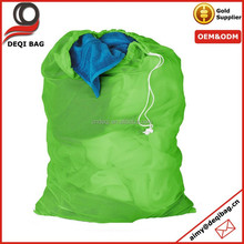 Foldable Green Nylon Mesh Drawstring Backpack Bag Organizer Bag