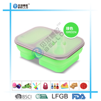 Microwave Oven Safe Silicone Collapsible Snack Box Dual two compartment Lunch box food container travel bowl