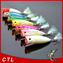 Chentilly03 fishing minnow lure 70mm 13.5g 3D eyes popper bait Feather three anchor hook refecting laser fishing lures