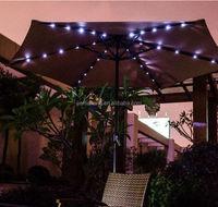 9' Solar Powered Lighted Outdoor Patio Umbrella with Hand Crank Solar Powered LED Outdoor Umbrella parasol China