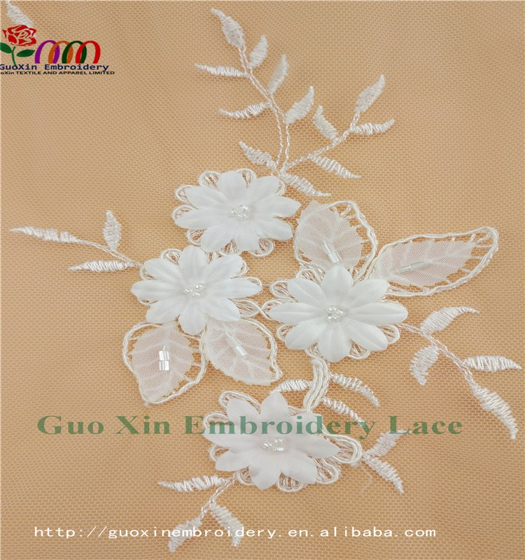 GUOXIN new arrival lace embroidery lace fabric for wedding dress A60915 (6)
