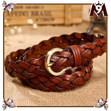 Popular unisex woven genuine spanish leather belt for men wholesale alibaba