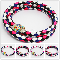 Black,white,rosy red and dark blue mixed colors PU Leather Punk Magnetic Strass clasp wrap crystal ball bracelet bangle