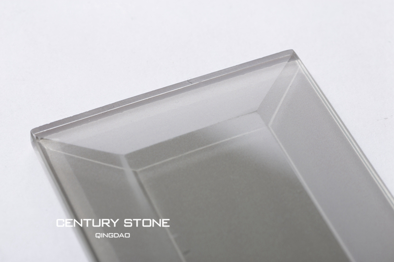 Gray Glossy Crystal Glass Beveled Subway Tile For Kitchen