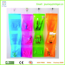 3 pockets Candy color bathroom storage bag pvc clear plastic bags