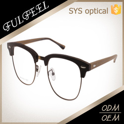 Modern trendy classic clubmaster style fake wood acetate optical glasses frame