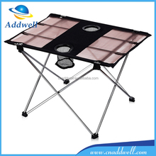 Outdoor folding canvas camping table with cup holder