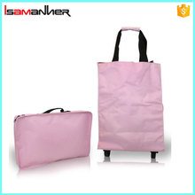 Isamanner foldable shopping trolley, nylon foldable trolley bags for supermarket shopping