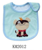 waterproof soft cotton jersey applique baby bib in animal shape made in china