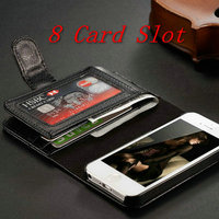 2014 new arrival hot selling super wallet PU leather phone case for Iphone 5 5S + 8 card slots