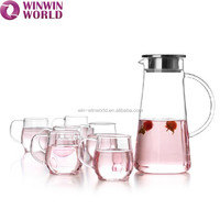 Hot Sale Mouth Blown Clear Glass Water Jug Set