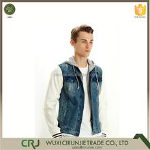 2014 New Design Fashion Leather Sleeves Denim Jacket for Men