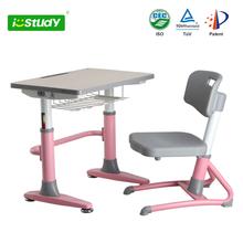 E1 standard height adjustable kindergrarten kids study table with chair