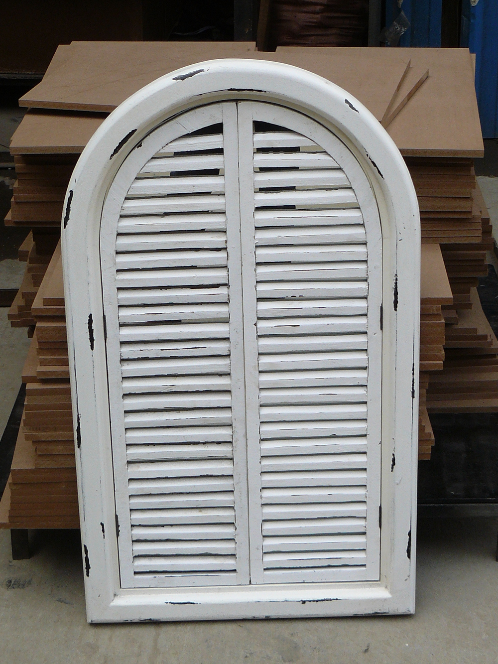 Fran ais shabby chic antique vintage style blanc miroir for Miroir 3 volets