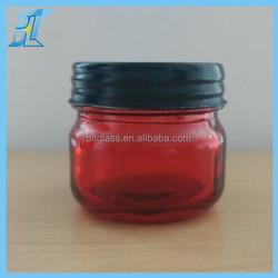 100ml red glass jar with black screw lid