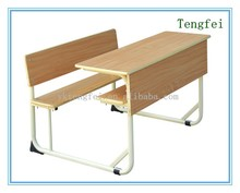 Double Desk and Chair for school furniture, Antique School Desk and Bench Set for College