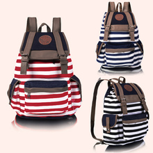 New Fashion Women Unisex Backpack Canvas Stripe Leisure Bags School Bag 3 Colors