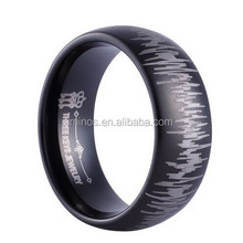 Fathers Day Gift Three Keys Jewelry 8mm Mens Tungsten Carbide Ring Wedding Engagement Band Black Dome High Polish Laser Sound