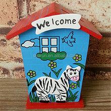 Christmas children's gift small cartoon coin saving money box wooden house money saving box